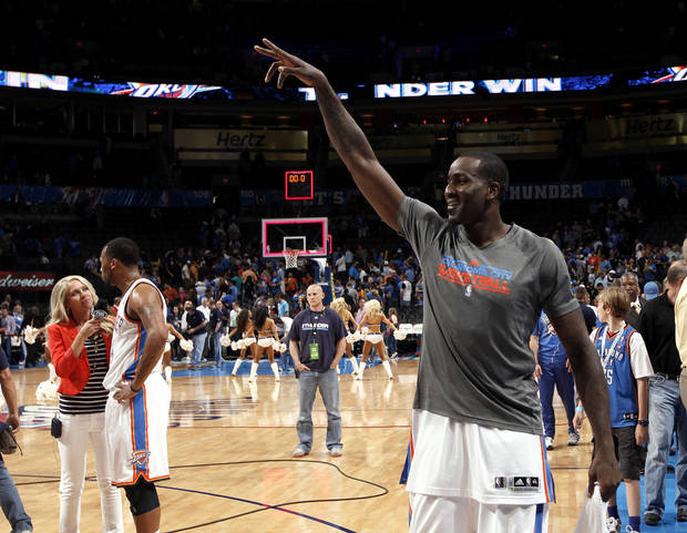 Oklahoma City's Kendrick Perkins (5) celebrates the Thunder's win during the NBA basketball game between the Oklahoma City Thunder and the Sacramento Kings at Chesapeake Energy Arena in Oklahoma City, Tuesday, April 24, 2012. Photo by Sarah Phipps, The Oklahoman.