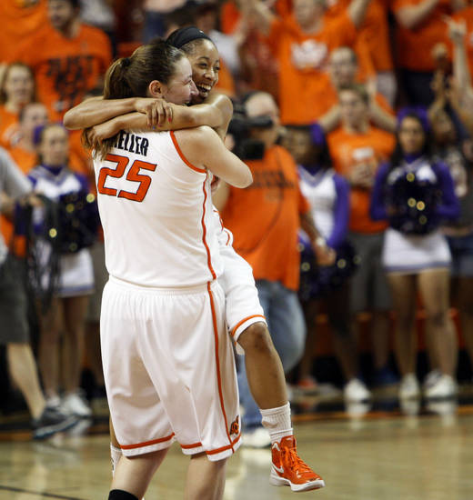 OSU's Tiffany Bias (3) and Lindsey Keller (25) celebrate after the Women's NIT championship college basketball game between Oklahoma State University and James Madison at Gallagher-Iba Arena in Stillwater, Okla., Saturday, March 31, 2012. OSU won, 75-68. Photo by Nate Billings, The Oklahoman