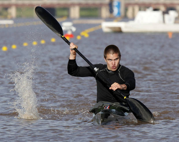 Zac Robertson competes in the men's kayak 200m consolation final during the USA Canoe/Kayak U.S. Olympics Team Trials on the Oklahoma River in Oklahoma City, Friday, April 20, 2012. Robertson finished first. Photo by Nate Billings, The Oklahoman