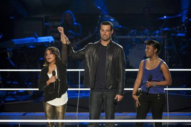 "THE VOICE -- ""Battle Round"" -- Pictured: (l-r) Vicci Martinez, Carson Daly, Nikki Dawson -- Photo by: Lewis Jacobs/NBC"