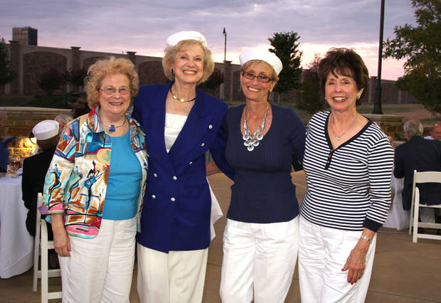 Ellen Jayne Wheeler, LaDonna Meinders, Jean McCown and Emogene Collins enjoy the Oklahoma City Orchestra League Sunset Boat Cruise and Dinner fundraiser.