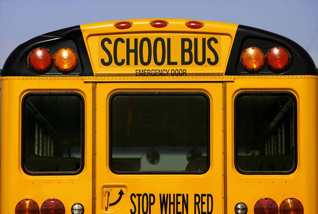 An Oklahoma City school bus at the district's transportation center in northeast Oklahoma City, Thursday,  Aug. 7, 2008.   BY JIM BECKEL, THE OKLAHOMAN