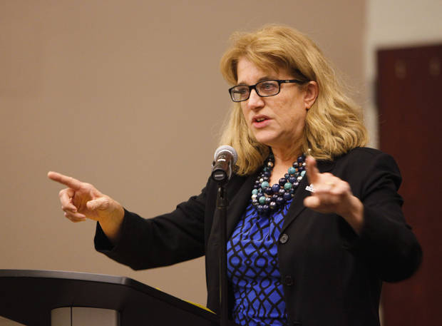 Kathryn Gage, University of Central Oklahoma vice president of Student Affairs, speaks Monday at the Edmond Suicide Prevention Summit at UCO.  Photo by David McDaniel, The Oklahoman <strong>David McDaniel</strong>