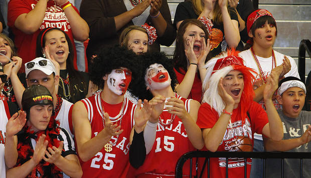 Kansas fans fill the stands during the semi final 3A girl's State Basketball Championship game between Millwood High School and Kansas High School at Yukon High School on Friday, March 9, 2012 in Yukon, Okla.  Photo by Chris Landsberger, The Oklahoman