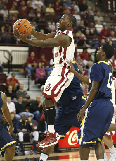 Oklahoma's Sam Grooms (1) shoots as the University of Oklahoma (OU) Sooners men's basketball team plays the Central Oklahoma Bronchos at McCasland Field House on Wednesday, Nov. 7, 2012  in Norman, Okla. Photo by Steve Sisney, The Oklahoman