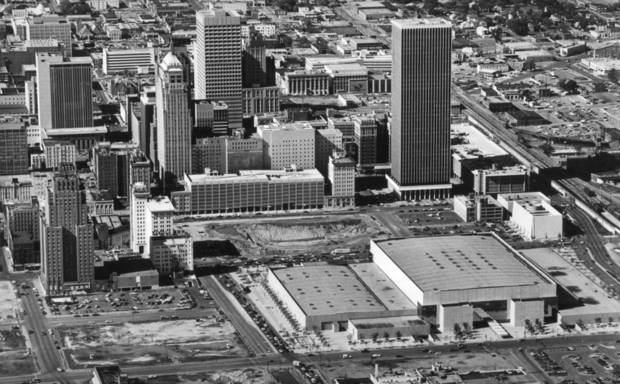 OKLAHOMA CITY / SKYLINE / AERIAL VIEW:  Aerial view of downtown Oklahoma City taken in May of 1974.  Note the Myriad Gardens and Botanical Tube have yet to be built, and the Biltmore Hotel and Tivoli Inn are still standing (lower left).
