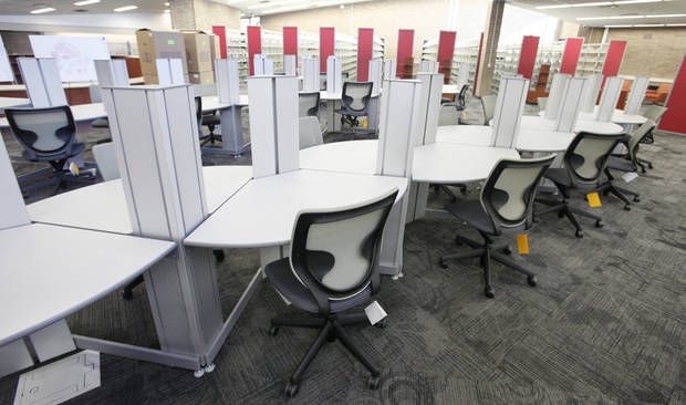 New computer desks are seen Wednesday inside the remodeled Southern Oaks Library in south Oklahoma City.
