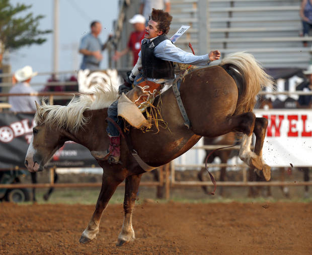 Levi Molesworth competes in the Bareback Bronc during the International Finals Youth Rodeo in Shawnee, Okla., Sunday, July 8, 2012. Photo by Sarah Phipps, The Oklahoman