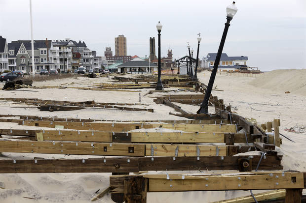 The remains of the boardwalk that was destroyed by Superstorm Sandy is seen Thursday, Feb. 7, 2013, in the Ocean Grove section of Neptune, N.J. Officials plan to appeal the Federal Emergency Management Agency&#039;s decision to reject a request for $1 million to repair the Ocean Grove boardwalk, which was destroyed by Superstorm Sandy. FEMA says the structure doesn&#039;t qualify because it is owned by the private, nonprofit Ocean Grove Camp Meeting Association. (AP Photo/Mel Evans)