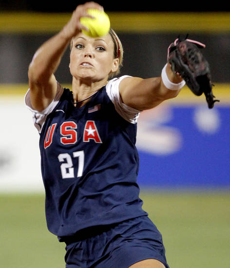 Jennie Finch of the United States pitches during the World Cup of Softball game between the United States and the Netherlands at ASA Hall of Fame Stadium in Oklahoma City, Thursday, July 16, 2009.  Photo by Bryan Terry, The Oklahoman