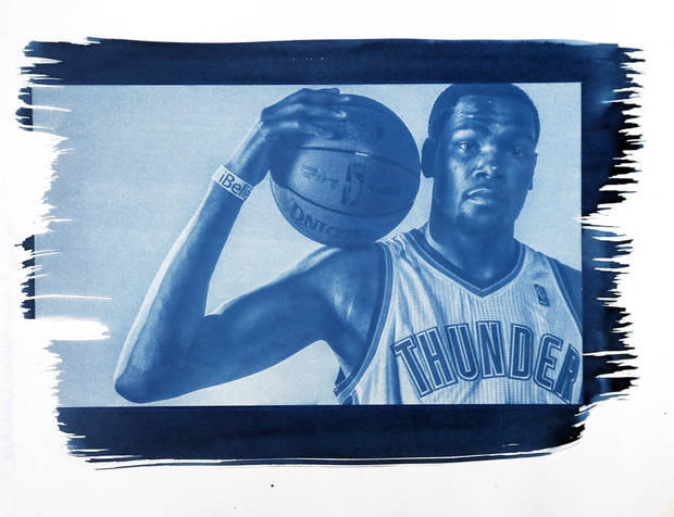Oklahoma City's Kevin Durant (35) is shown in this cyanotype print made from a photo taken during the Oklahoma City Thunder media day on Friday, Sept. 27, 2013, in Oklahoma City. Photo by Chris Landsberger, The Oklahoman. Cyanotype print by Nate Billings, The Oklahoman