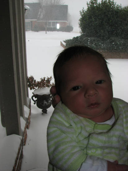 George Holt was born one week ago today, and is seen here in Quail Creek in NW OKC experiencing his first blizzard.  Submitted by David Holt