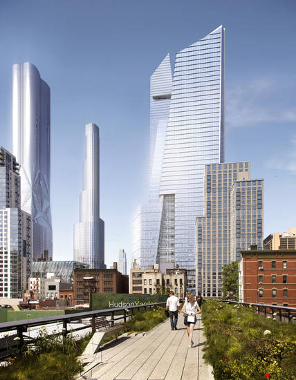 In this artist rendering created by Visualhouse and released by Hudson Yards, shows the base of the development�s south office tower as it would be viewed from the Highline. With the ceremonial groundbreaking on Tuesday, Dec. 4, 2012, the transformation of the largest undeveloped property in Manhattan from a railroad storage yard into a sleek new neighborhood of spiky high-rises and graceful parks has begun.  (AP Photo/Visualhouse via Hudson Yards)