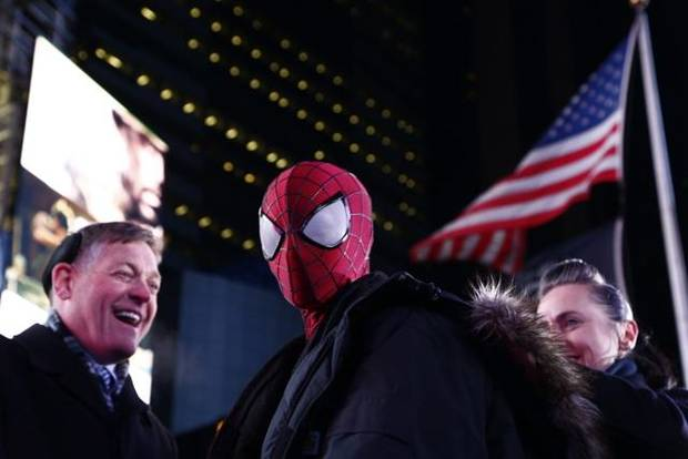 """Spider-Man"" in Times Square on New Year's Eve, 2013."