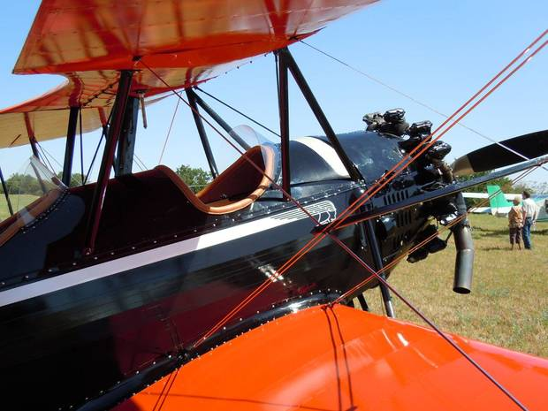 A recently restored 1930 Spartan C3 biplane sits at the Will Rogers & Wiley Post Fly-In at Oologah on Sunday. Photo by Matthew Maupin.