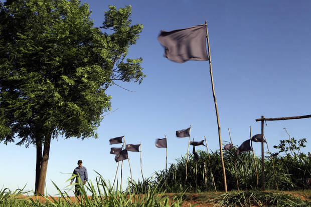 In this Nov. 13, 2012 photo, a farmer walks behind black flags representing 11 landless farmers who were killed during clashes with police in the Yvy Pyta settlement near Curuguaty, Paraguay. The �Massacre of Curuguaty� on June 15 occurred when negotiations between farmers occupying a rich politician's land ended with a barrage of bullets that killed 11 farmers and 6 police officers. (AP Photo/Jorge Saenz)