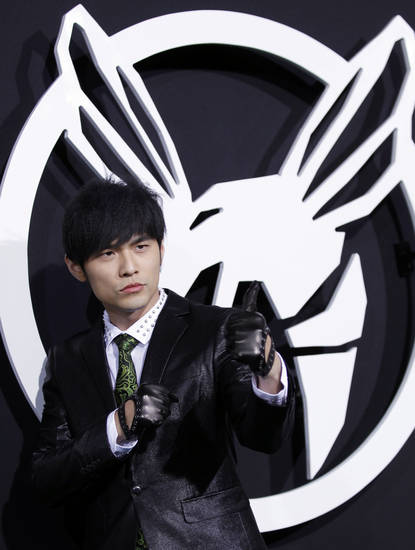 "Cast member Jay Chou arrives at the premiere ""The Green Hornet"" in Los Angeles, on Monday, Jan 10, 2011.  (AP Photo/Matt Sayles)"