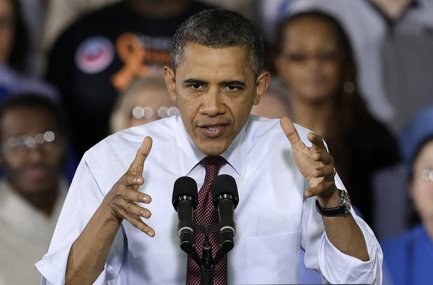 President Barack Obama speaks to workers about the economy during a visit to Daimler Detroit Diesel in Redford, Mich., Monday, Dec. 10, 2012. The scene playing out on Capitol Hill is a familiar one as lawmakers with competing ideologies wage an 11th-hour battle to avert a predictable crisis. This one comes just a year after an equally divided Washington nearly let the country default on its loan obligations, a debt-ceiling debate that contributed to the electorate's deep lack of faith in their elected leaders and a drop in the nation�s credit rating. (AP Photo/Paul Sancya)