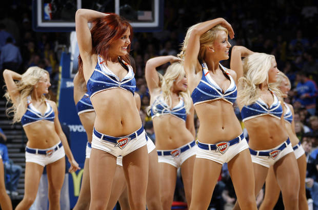 The Thunder Girls dance team performs during an NBA basketball game between the Oklahoma City Thunder and the New Orleans Hornets at the Chesapeake Energy Arena in Oklahoma City, Monday, Feb. 20, 2012. Oklahoma City won, 101-93. Photo by Nate Billings, The Oklahoman