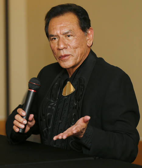 Honoree Wes Studi speaks during the press conference before the Western Heritage Awards at the National Cowboy  &amp; Western Heritage Museum in Oklahoma City, Saturday, April 20, 2013. Studi is being inducted into the Hall of Great Western Performers. Photo by Nate Billings, The Oklahoman