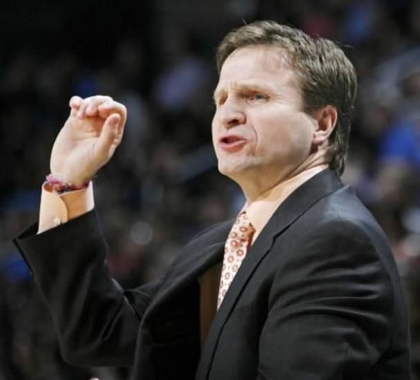 Thunder head coach  Scott  Brooks signals his team during the NBA basketball game between the Los Angeles Lakers and the Oklahoma City Thunder at the Ford Center in Oklahoma City, Friday, March 26, 2010. Oklahoma City won, 91-75. Photo by Nate Billings