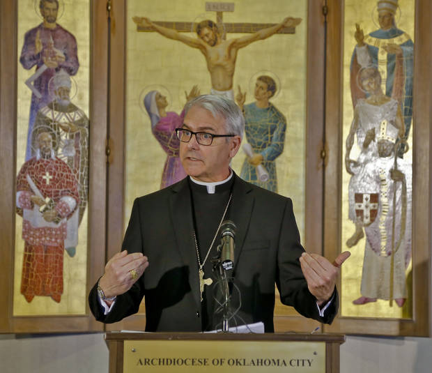 Archbishop Paul S. Coakley, leader of the Archdiocese of Oklahoma City, talks during a new conference about the election of a new pope on Wednesday.  <strong></strong>