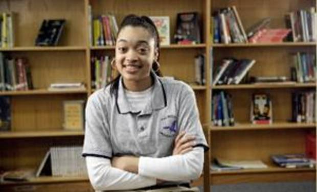 Mekale Chapple, 9th grade, poses for a picture at  Millwood Arts Academy, 6700 Martin Luther King Avenue, Monday, Jan. 11, 2009, in Oklahoma City. Photo by Sarah Phipps, The Oklahoman