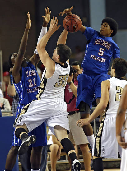 Millwood&#039;s Ashford Golden (5) and Jamal Green-Gaskins (21) defend on Okemah&#039;s Austin Guinn (35) during the state high school basketball tournament Class 3A boys championship game between Millwood High School and Okemah High School at the State Fair Arena on Saturday, March 9, 2013, in Oklahoma City, Okla. Photo by Chris Landsberger, The Oklahoman