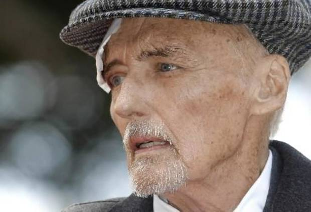 Dennis  Hopper attends a dedication ceremony for his new star on the Hollywood Walk of Fame on Friday March 26, 2010, in Los Angeles. (AP Photo/Damian Dovarganes)