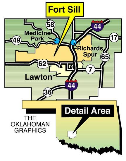 Fort Sill - Medicine Park - Richards Spur - Lawton MAP - OKLAHOMAN GRAPHIC