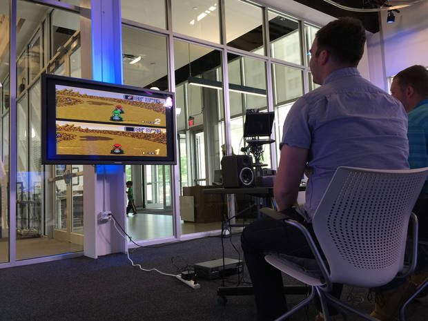 The Oklahoman's Big Screen Mario Kart tournament on May 15, 2015.
