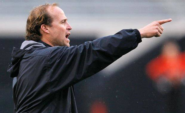 OSU offensive coordinator Dana Holgorsen gives instructions to the team during the Oklahoma State Orange and White spring football game at Boone Pickens Stadium in Stillwater, Okla., Saturday, April 17, 2010. Photo by Nate Billings, The Oklahoman