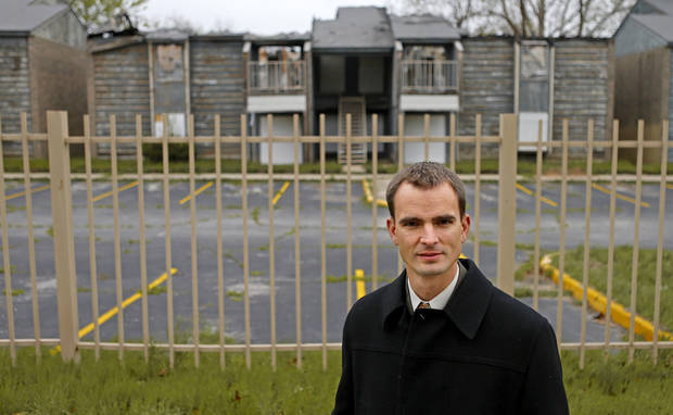 James Greiner, and Oklahoma City council member, stands outside the abandoned Lantana apartment complex April 23 in Oklahoma City. Photo by Bryan Terry, The Oklahoman <strong>Bryan Terry</strong>