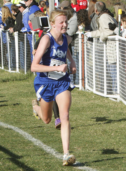 Mount St. Mary's Audrey Campbell comes in third in the Girls 4A State Cross Country Finals at Edmond Santa Fe High School in Edmond, OK, Saturday, October 27, 2012,  By Paul Hellstern, The Oklahoman