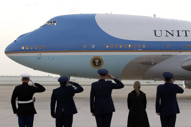 Air Force One with President Barack Obama and first lady Michelle Obama aboard departs from Andrews Air Force Base, Md., Sunday, Sept, 11, 2011. Ten years after 9/11 terror attacks, Obama and first lady Michelle Obama are traveling to New York and Shanksville, Penn., to attend memorial services and then to the Pentagon later in the day. (AP Photo/Jose Luis Magana)