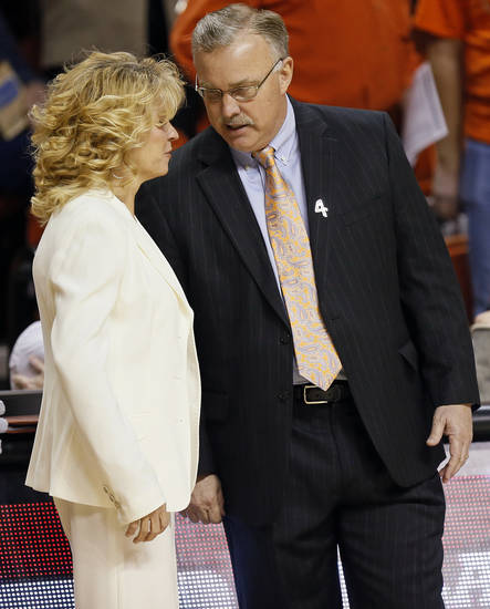 OU head coach Sherri Coale and OSU head coach Jim Littell talk before the Bedlam women's college basketball game between Oklahoma State University (OSU) and the University of Oklahoma (OU) at Gallagher-Iba Arena in Stillwater, Okla., Saturday, Feb. 23, 2013. Photo by Nate Billings, The Oklahoman