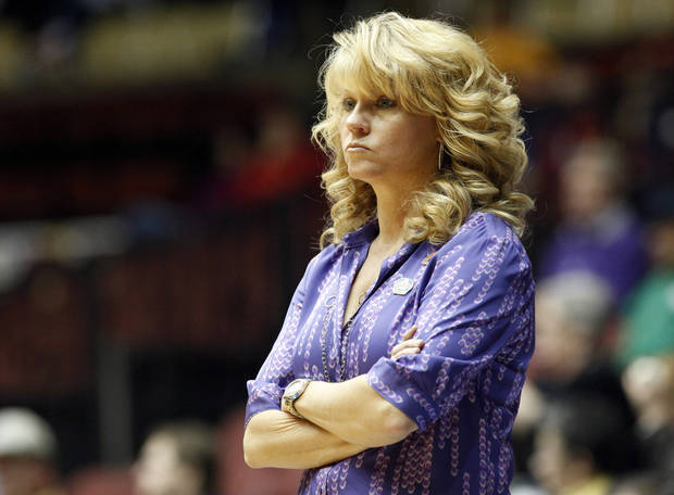 Oklahoma head coach Sherri Coale watches game action in the final seconds of the Big 12 tournament women&#039;s college basketball game between the University of Oklahoma Sooners and the Texas A&amp;M Aggies at Municipal Auditorium in Kansas City, Mo., Friday, March 9, 2012. Photo by Sarah Phipps, The Oklahoman.