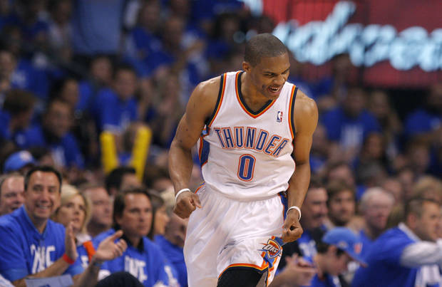 Oklahoma City&#039;s Russell Westbrook (0) celebrates during Game 1 in the second round of the NBA playoffs between the Oklahoma City Thunder and the L.A. Lakers at Chesapeake Energy Arena in Oklahoma City, Monday, May 14, 2012. Photo by Sarah Phipps, The Oklahoman