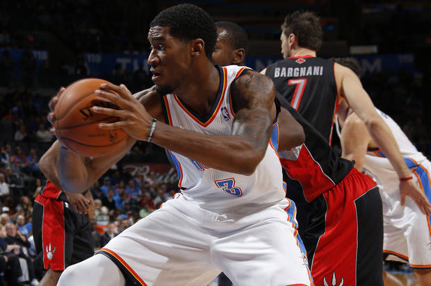 Oklahoma City's Perry Jones III (3) moves towards the basket during an NBA basketball game between the Oklahoma City Thunder and the Toronto Raptors at Chesapeake Energy Arena in Oklahoma City, Tuesday, Nov. 6, 2012.  Tuesday, Nov. 6, 2012. Oklahoma City won 108-88. Photo by Bryan Terry, The Oklahoman