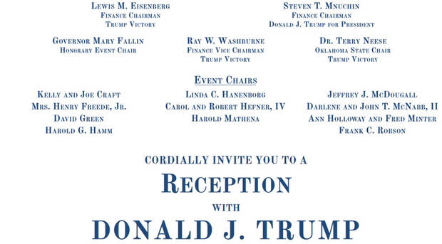 Shown is the invitation for the fundraiser in Norman for Republican presidential candidate Donald J. Trump.