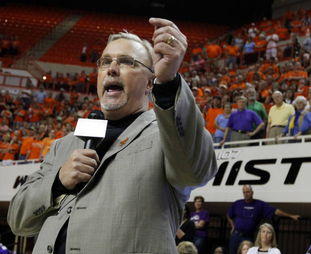 WOMEN'S COLLEGE BASKETBALL / WNIT CHAMPIONSHIP: OSU head coach Jim Littell speaks to fans after the Women's NIT championship college basketball game between Oklahoma State University and James Madison at Gallagher-Iba Arena in Stillwater, Okla., Saturday, March 31, 2012. OSU won, 75-68. Photo by Nate Billings, The Oklahoman