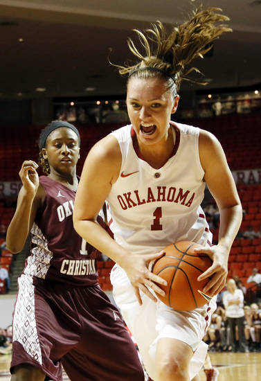 OU's Nicole Kornet (1) works in front of Jasmine Hinton (1) of Oklahoma Christian during a women's college basketball exhibition game between the University of Oklahoma and Oklahoma Christian University at the Lloyd Noble Center in Norman, Okla., Thursday, Nov. 1, 2012. Photo by Nate Billings, The Oklahoman