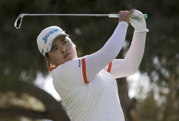 Inbee Park, of South Korea, watches her tee shot on the 17th hole during the second round of the LPGA Kraft Nabisco Championship golf tournament in Rancho Mirage, Calif., Friday, April 5, 2013. (AP Photo/Chris Carlson)