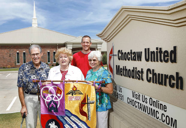 Afton Morton, Shirley McConnell, the Rev. Andy James and Sharon Brown stand in front of the Choctaw United Methodist Church, where members are celebrating the church&acirc;s 120th anniversary. PHOTO BY Jim Beckel, THE OKLAHOMAN