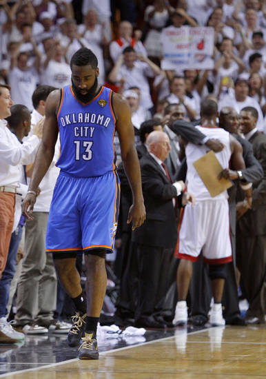 Oklahoma City's James Harden (13) walks to the bench during Game 5 of the NBA Finals between the Oklahoma City Thunder and the Miami Heat at American Airlines Arena, Thursday, June 21, 2012. Oklahoma City lost 121-106. Photo by Bryan Terry, The Oklahoman