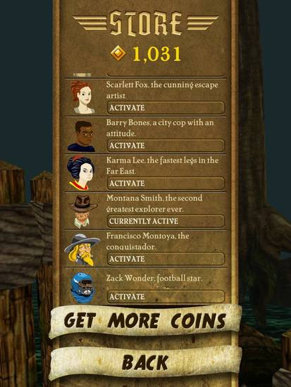 "Collect enough coins in ""Temple Run"" and you can run as different characters, such as ""Zach Wonder, football star,"" ""Scarlett Fox, the cunning escape artist,"" or ""Barry Bones, a city cop with an attitude,"" shown here in this screen shot from the game taken from an iPad 2."