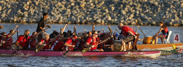 The AAA corporate team competes in a dragon boat race during the Oklahoma Regatta Festival on the Oklahoma River in Oklahoma City, Thursday, Oct. 3, 2013. Photo by Bryan Terry, The Oklahoman