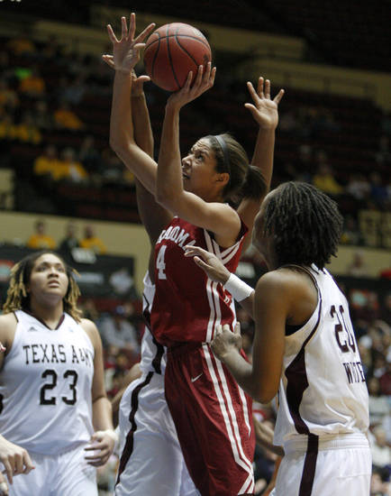 OU's Nicole Griffin (4) goes to the basket between Texas A&M's Danielle Adams (23) and Tyra White (20) during the women's college basketball Big 12 Championship tournament game between the University of Oklahoma and Texas A&M in Kansas City, Mo., Friday, March 11, 2011.  Photo by Bryan Terry, The Oklahoman