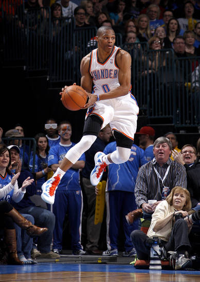 Oklahoma City's Russell Westbrook (0) leaps for the ball during the NBA game between the Oklahoma City Thunder and the New York Knicks at Chesapeake Energy Arena in Oklahoma CIty, Saturday, Jan. 14, 2012. Photo by Bryan Terry, The Oklahoman