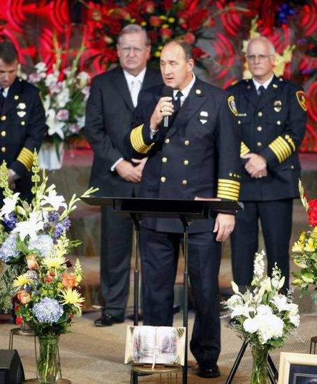 Oklahoma City Fire Chief Keith Bryant talks at the funeral of Nichols Hills Fire Chief Keith Bryan on Saturday at The Bridge Assembly of God in Mustang. <strong>PAUL HELLSTERN</strong>